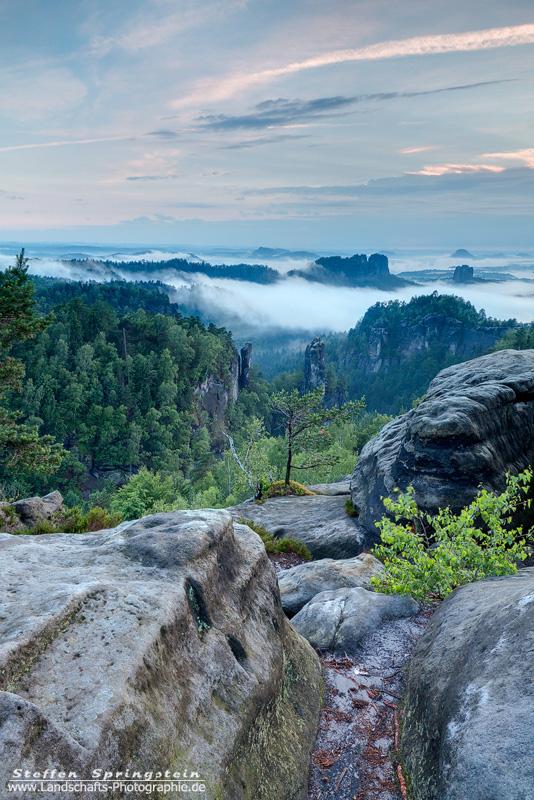 Schrammsteine im Nebelmeer