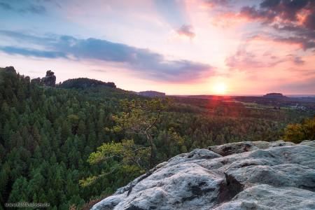 Sonnenuntergang Elbsandsteingebirge