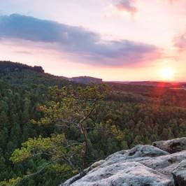 Bild der Woche: Sonnenuntergang im Elbsandsteingebirge