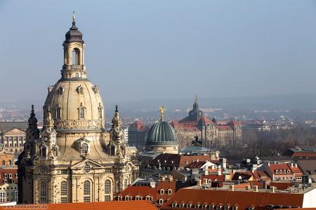 Blick auf die Frauenkirche von der Kreuzkirche