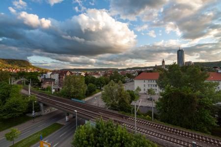 Jena vom Parkdeck der stillgelegten Schillerpassage