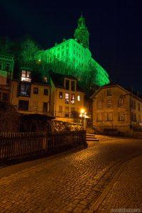 Grünes Schloss Heidecksburg über den Häusern der Altstadt
