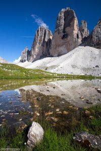 Bergfotografie Drei Zinnen Spiegelung